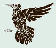 Kolibriesilhouet, grafische tekening Royalty-vrije Stock Afbeeldingen