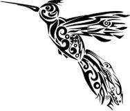 Kolibrivektor, Illustration des Fliegenvogels, Muster auf einem Tier von den Linien Stockbilder