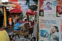 Kolkata city bylanes. Election posters amd missing poster royalty free stock image
