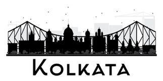 Kolkata City skyline black and white silhouette. Royalty Free Stock Photo