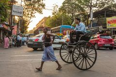 Traditional hand pulled indian rickshaw driver working on the street in Kolkata, West Bengal, India stock photography