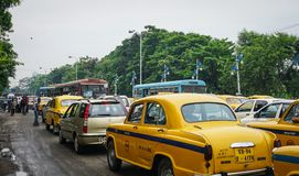 Traffic on street at downtown in Kolkata, India Royalty Free Stock Photo