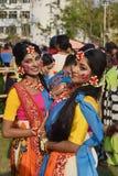 Kolkata, India - March 18 2019; Rabindra Bharati University students celebrates `Basanta Utsav` at their campus in Kolkata. royalty free stock photo