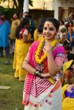 Kolkata, India - March 18 2019; Rabindra Bharati University students celebrates `Basanta Utsav` at their campus in Kolkata. stock images