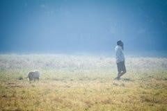 A MAN WITH HIS DOG AT MAIDAN, KOLKATA royalty free stock photo