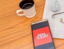 Kolkata, Indien, am 3. Februar 2019: India Today-Nachrichten Appanwendung sichtbar auf dem Handyschirm schön gesetzt über a lizenzfreies stockfoto