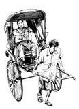 Kolkata, la India - dibujo de un carrito con un pasajero libre illustration