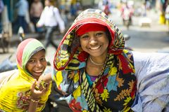 Two Indian girl in kolkata street. In kolkata ,north  indian two india girl in street,one girl  was shy with the camera Royalty Free Stock Photography