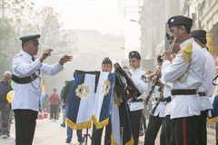 Kolkata Police force officers playing musical instruments Royalty Free Stock Photo