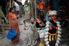 Kolkata's Slum Area. There is a community of hereditary clay idol makers living in a workshop-based township called Kumartuli, north of Calcutta. Densely Stock Image