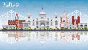 Kolkata Skyline with Gray Landmarks, Blue Sky and Reflections. Stock Image