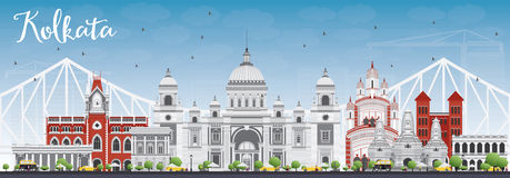 Kolkata Skyline with Gray Landmarks and Blue Sky. Vector Illustration. Business Travel and Tourism Concept with Historic Buildings. Image for Presentation Stock Image