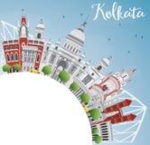 Kolkata Skyline with Gray Landmarks and Copy Space. Royalty Free Stock Photography