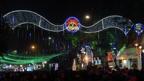 Decorative lighting at Park Street, Kolkata stock video footage