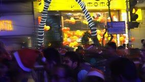 Decorative lighting at Park Street, Kolkata stock footage