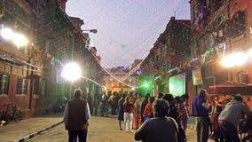 Crowd enhoying Merry Christmas at night at Kolkata stock video footage