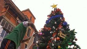 Preparing christmas tree at Kolkata stock footage