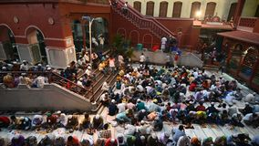 Iftar party at Nakhoda Masjid, Kolkata, India stock video footage