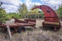 Kolkhoz in Chernobyl Zone. Collective farm near Zymovyshche ghost village in Chernobyl Exclusion Zone, Ukraine Stock Photos
