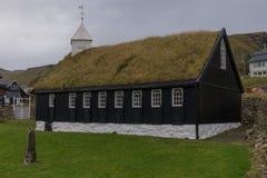 Kollafjarðar kirkja教会在Kollafjørður,法罗群岛,丹麦 免版税库存照片
