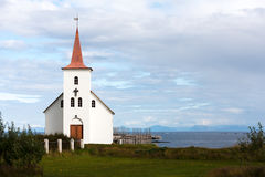 Kollafjardarneskirkja, una delle molte chiese islandesi Fotografia Stock Libera da Diritti