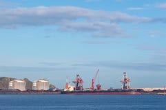 Kollastfartyg som förtöjas i port med lyftande lastkranar, skepp och korn royaltyfria bilder
