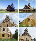 Kollazh Nuova chiesa della costruzione in Russia Immagini Stock Libere da Diritti