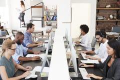 Kollegor sitter genom att använda datorer i ett upptaget öppnar plankontoret royaltyfri foto
