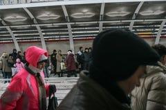 Kollektivtrafik som försenas i vinter Royaltyfri Fotografi