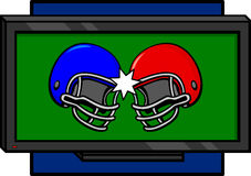kolliderande fotbollhjälmtelevision två Arkivfoton