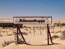 Kolmannskuppe signs in ghost town Royalty Free Stock Images