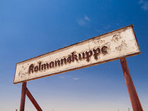 Kolmannskuppe signs in ghost town Stock Images