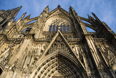 Koln cathedral against the blue sky. Koln cathedral's south side in a sunny day Stock Images