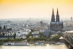 Koln cityscape with cathedral and steel bridge, Germany. Europe Stock Photo