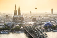 Koln cityscape with cathedral and steel bridge, Germany. Europe Royalty Free Stock Images