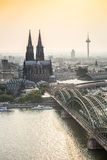 Koln cityscape with cathedral and steel bridge, Germany. Europe Stock Photography