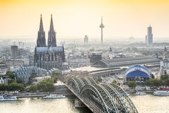 Koln cityscape with cathedral and steel bridge, Germany. Europe Royalty Free Stock Photos