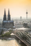 Koln cityscape with cathedral and steel bridge, Germany Stock Image