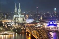 Koln (Cologne). Night scenery, near the old bridge of the Koln(Cologne) city, Germany Stock Photo