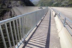 Kolnbrein Dam. And sky walk in the middle of dam, Carinthia, Austria Stock Photo