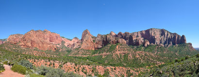 Kolob Canyons Panorama. In Zion National Park, in the northwest corner of the park, narrow parallel box canyons are cut into the western edge of the Colorado Royalty Free Stock Photo