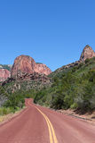 Kolob Canyons Road. In Zion National Park, in the northwest corner of the park, narrow parallel box canyons are cut into the western edge of the Colorado Stock Photos