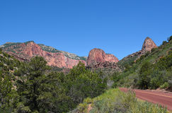 Kolob Canyons Road. In Zion National Park, in the northwest corner of the park, narrow parallel box canyons are cut into the western edge of the Colorado Stock Photography