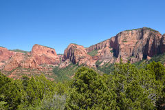 Kolob Canyons, Zion. Timbertop Mountain and Nagunt Mesa are two features of the Kolob Canyons area of Zion National Park Stock Photo