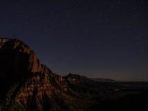 Kolob för natthimmel kanjon Zion National Park 14 Arkivfoto
