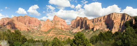 Kolob Panorama. Panoramic view in the Kolob Canyons District of Utah's Zion National Park including Timber Top Mountain, Horse Ranch Mountain, Pariah Point Stock Image