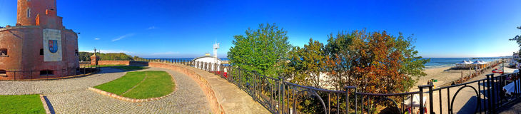 Kolobrzeg, lighthouse panoramic view Stock Photos