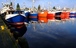 Kolobrzeg, Poland. Colorful fishing boats are moored in the sea port .