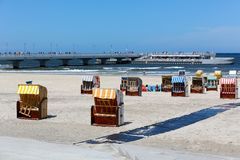 Colorful roofed beach chairs on the beach Royalty Free Stock Photography
