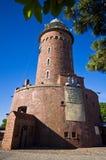 Kolobrzeg Polen, touristischer Markstein des Leuchtturmes des roten Backsteins Stockbilder